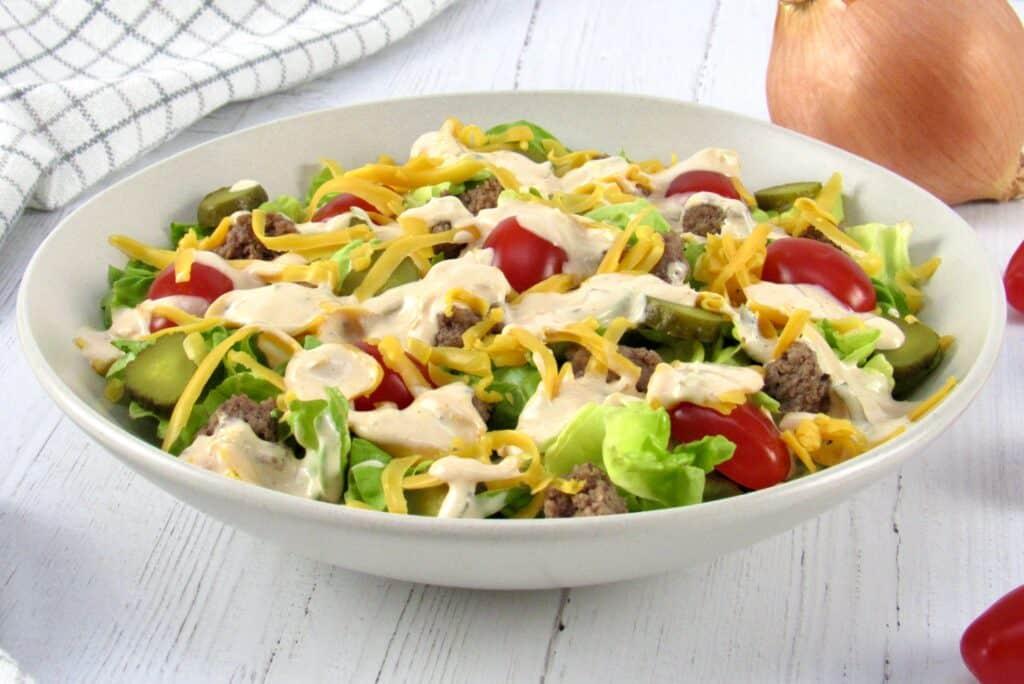 side view of cheeseburger salad