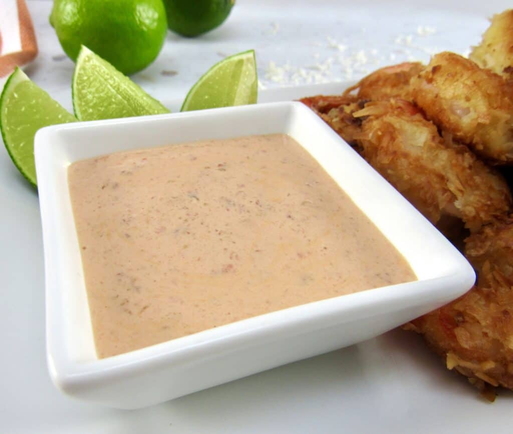 coconut shrimp dipping sauce in white square dish