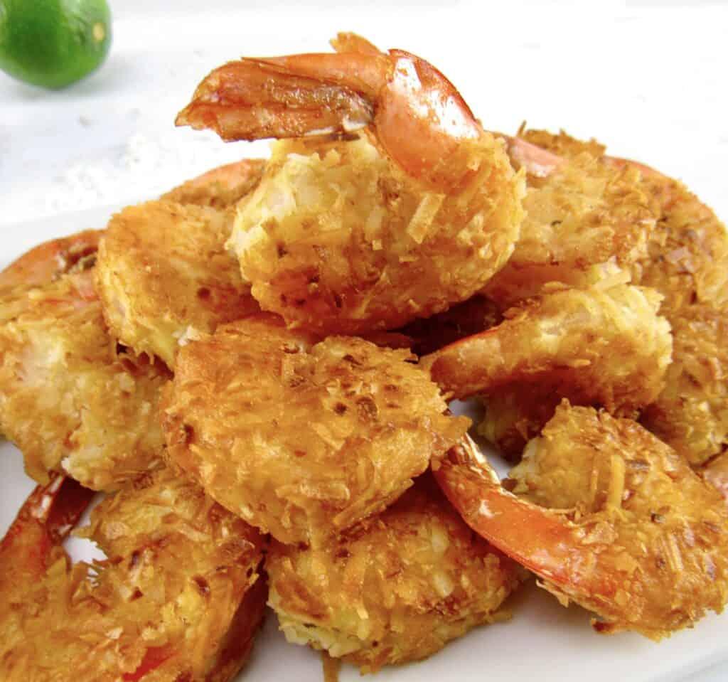 coconut shrimp piled up on plate