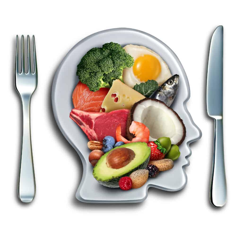 plate shaped like a head with healthy foods inside