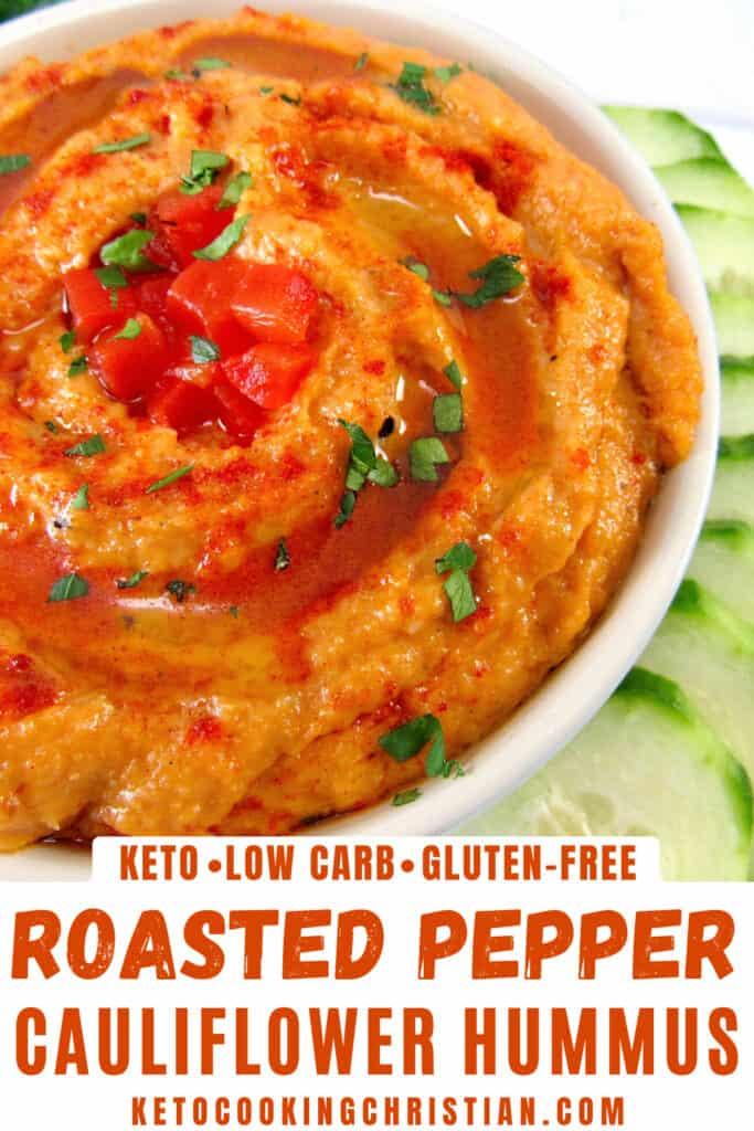 PIN Roasted Red Pepper Cauliflower Hummus - Keto
