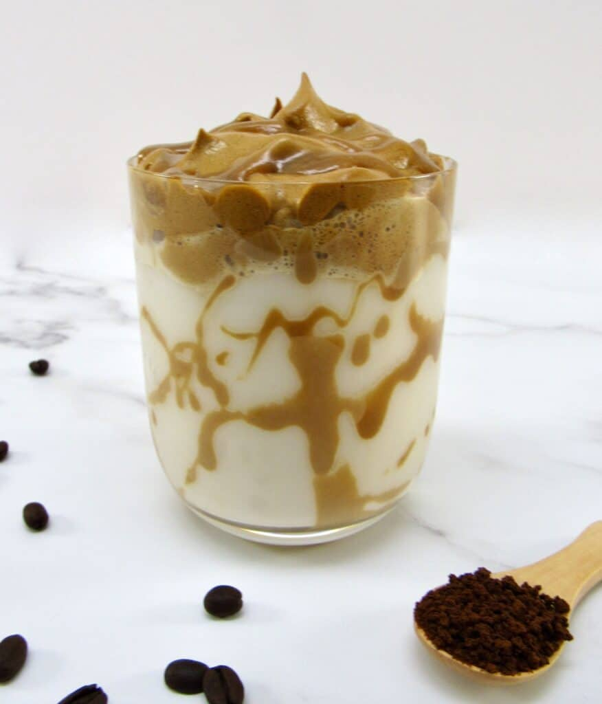 side view of salted caramel dalgona coffee