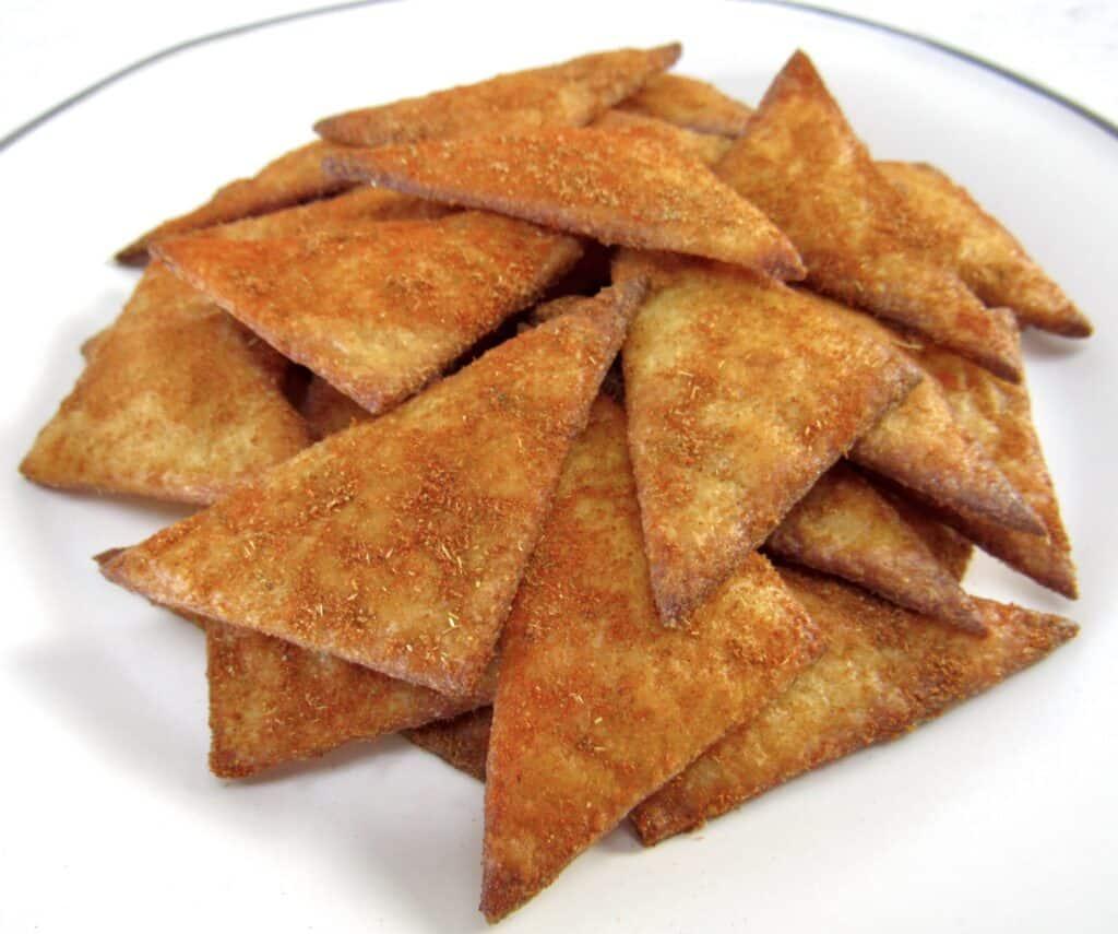 closeup of tortilla chips stacked