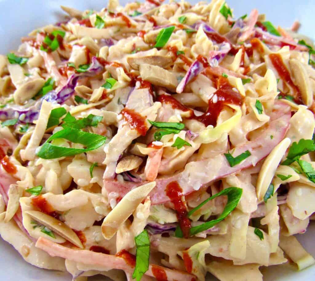 closeup of Spicy Bang Bang Coleslaw in bowl