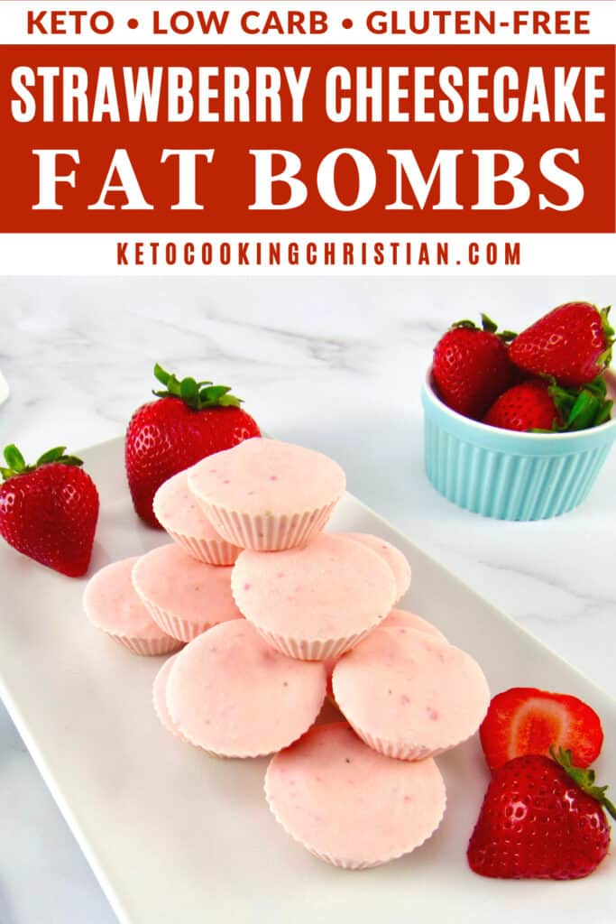PIN Keto Strawberry Cheesecake Fat Bombs