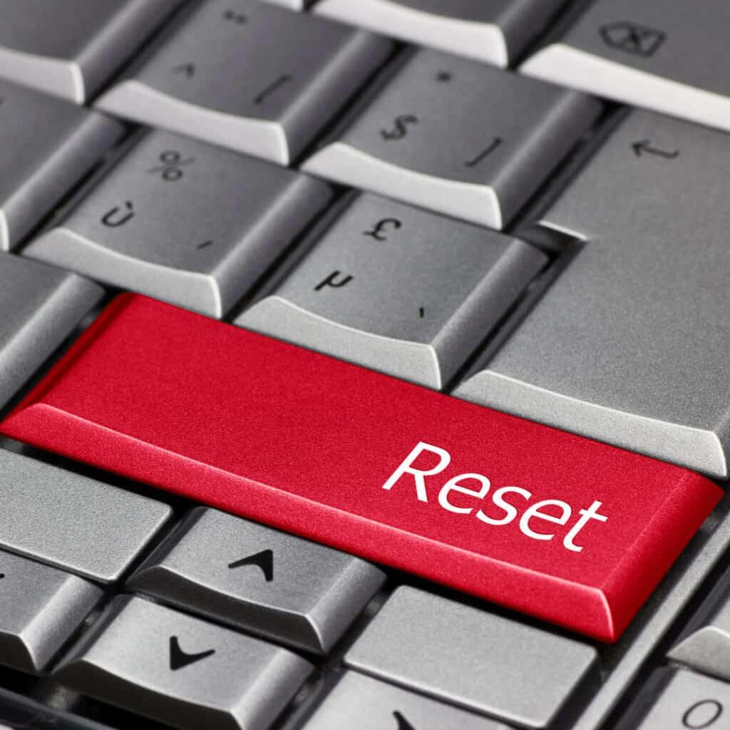 closeup of computer key reset button