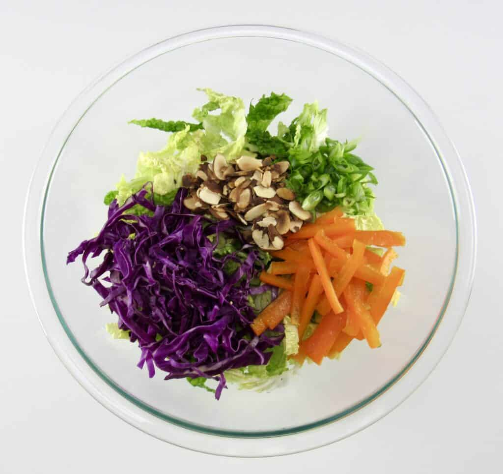 cabbage and salad ingredients on top