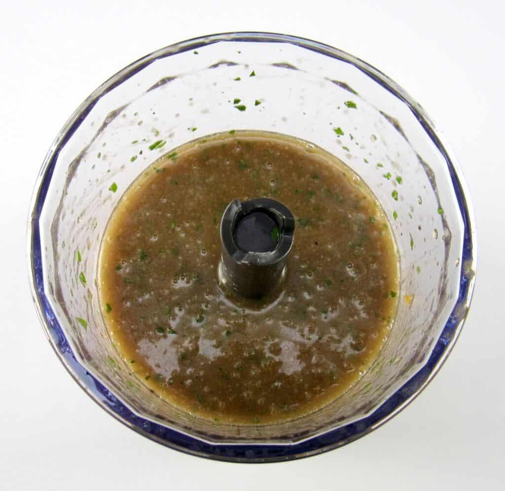 Asian dressing blended in mini chopper bowl