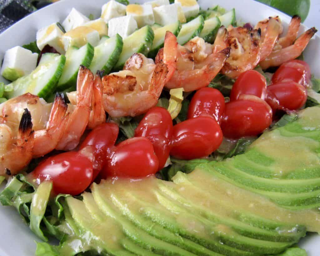 closeup of Grilled Shrimp Salad with Apricot Vinaigrette