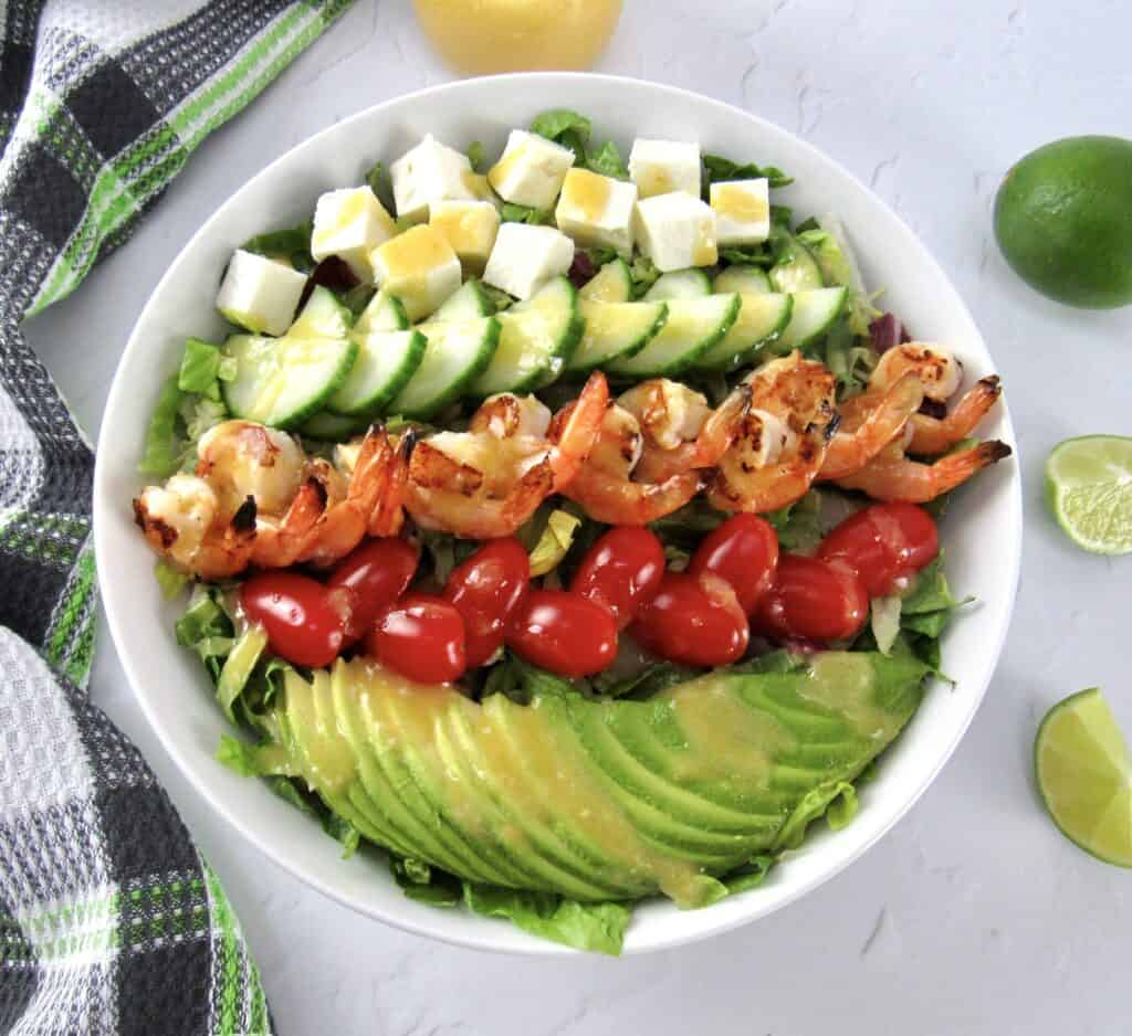 overhead view of Grilled Shrimp Salad with Apricot Vinaigrette