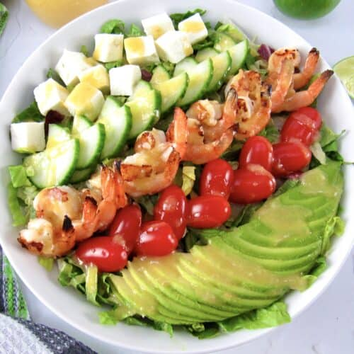 closeup overhead view of Grilled Shrimp Salad with Apricot Vinaigrette