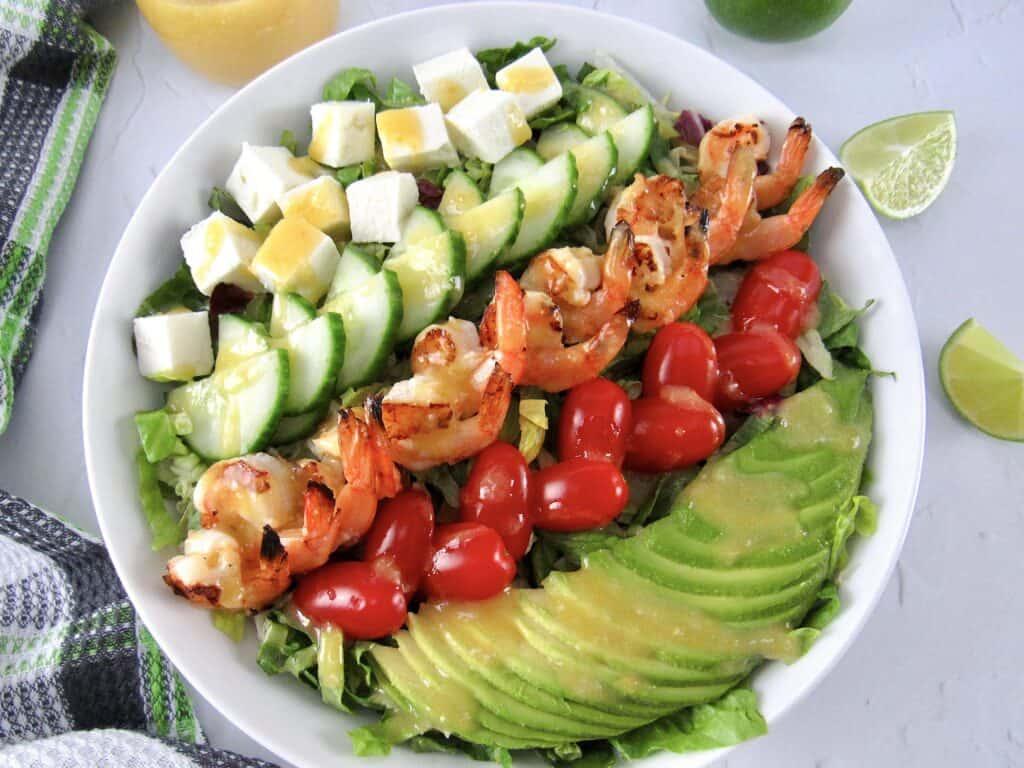 grilled shrimp salad in bowl