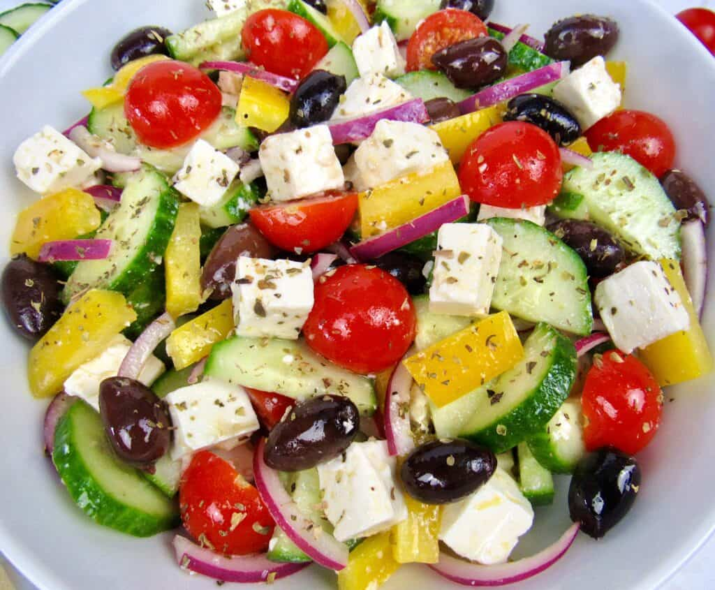 overhead view closeup of greek salad