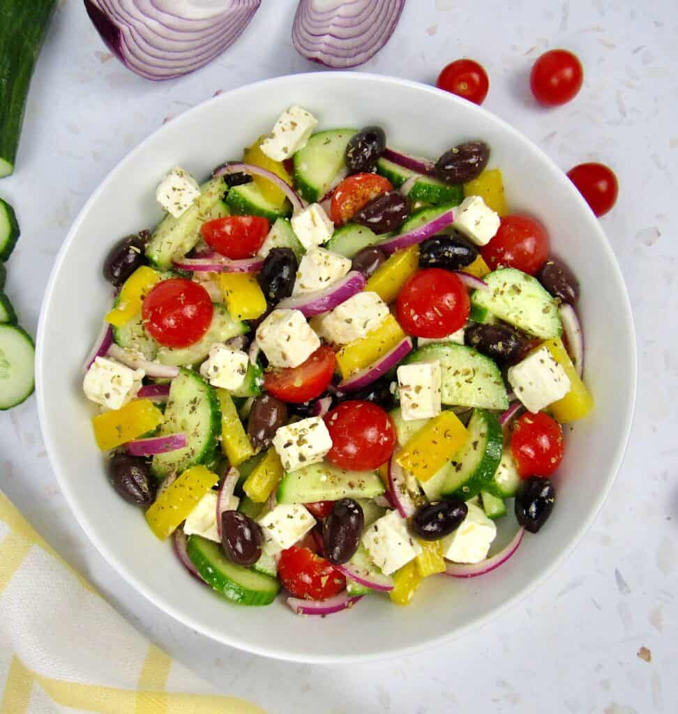 overhead view of greek salad