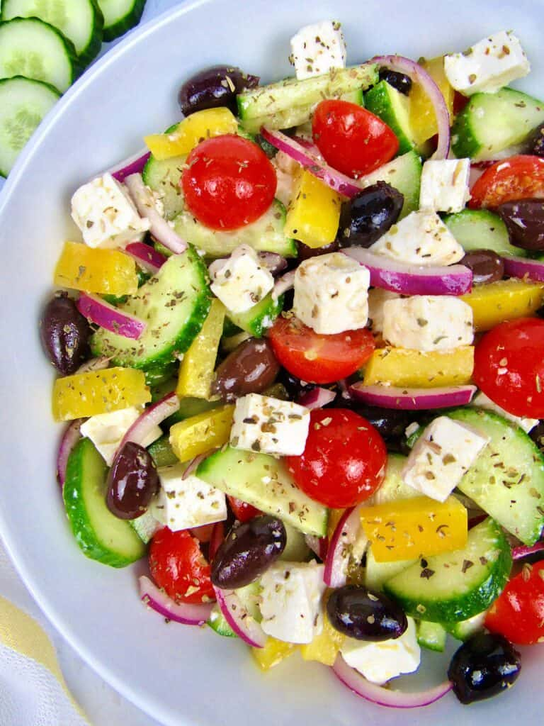 closeup overhead of greek salad