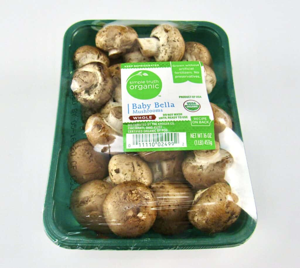 container of simple truth organic mushrooms