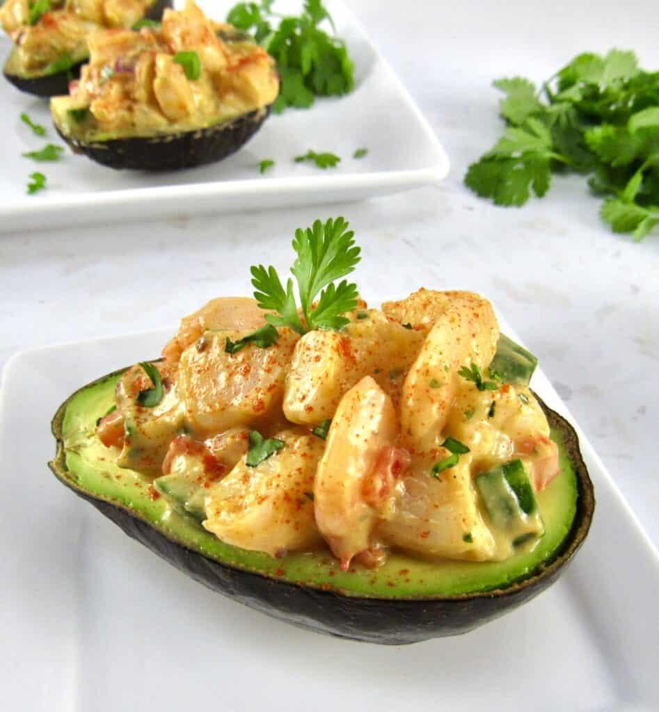 closeup shrimp salad in ½ avocado with cilantro in background
