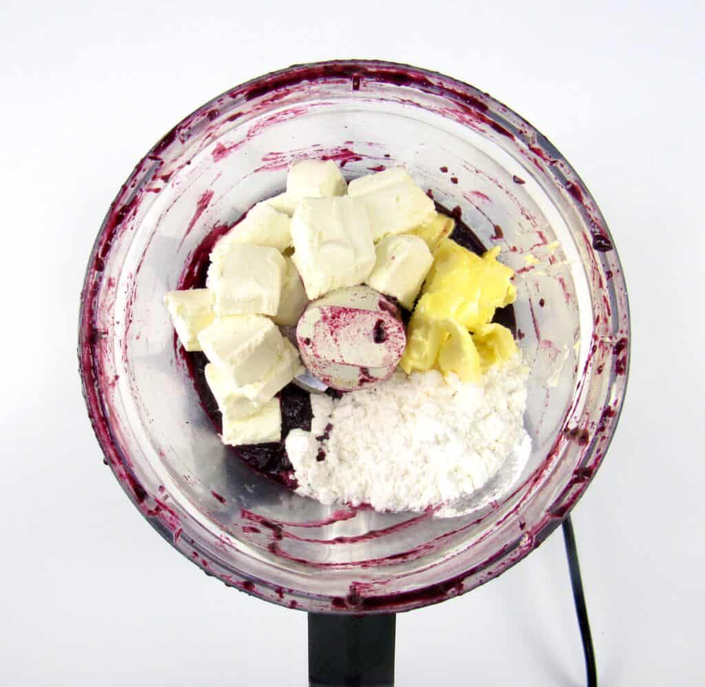 blueberry cheesecake batter ingredients in food processor bowl