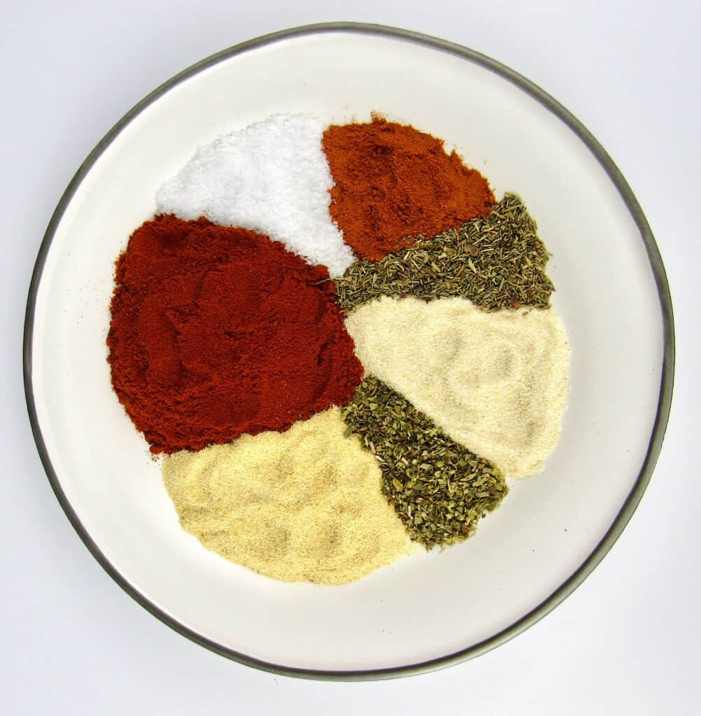 spices and herbs for blackened seasoning on plate