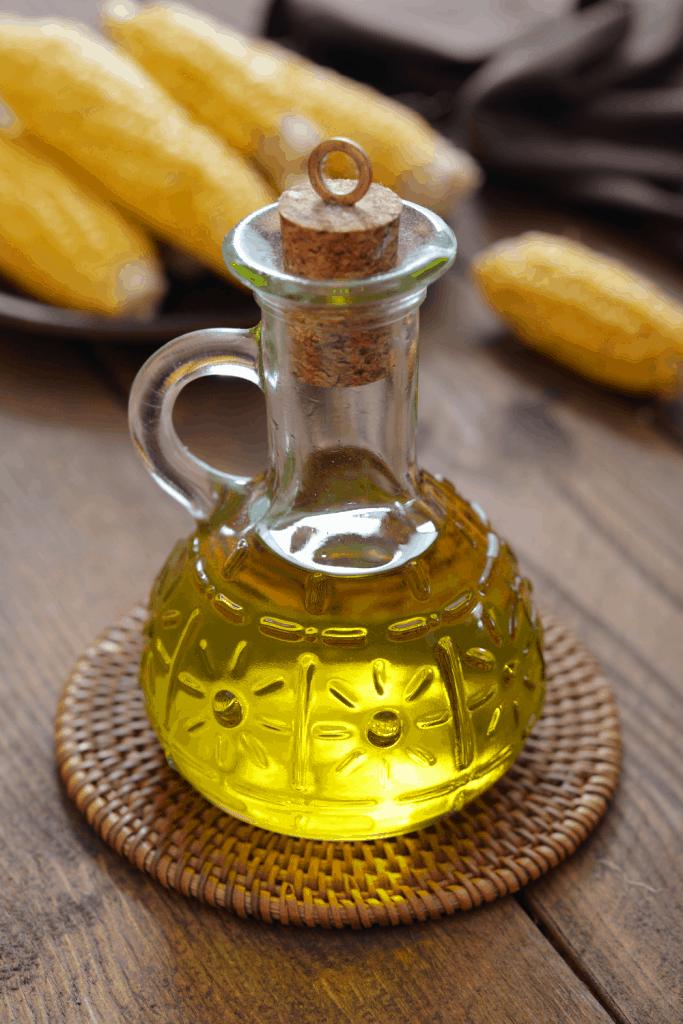 corn oil in glass bottle