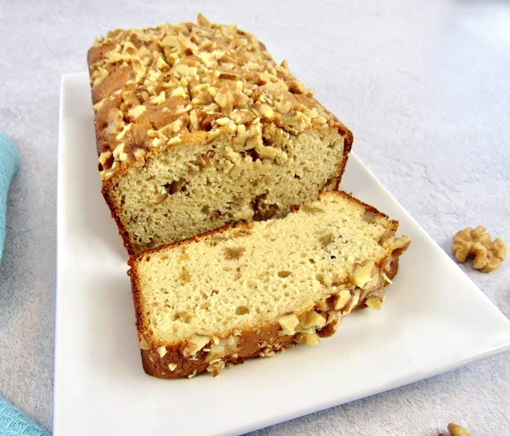 Keto Banana Bread sliced on platter