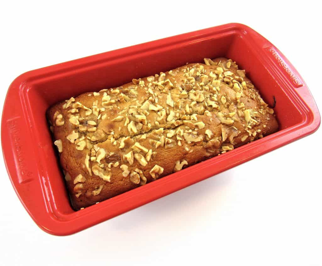 Keto Banana Bread baked in red loaf pan