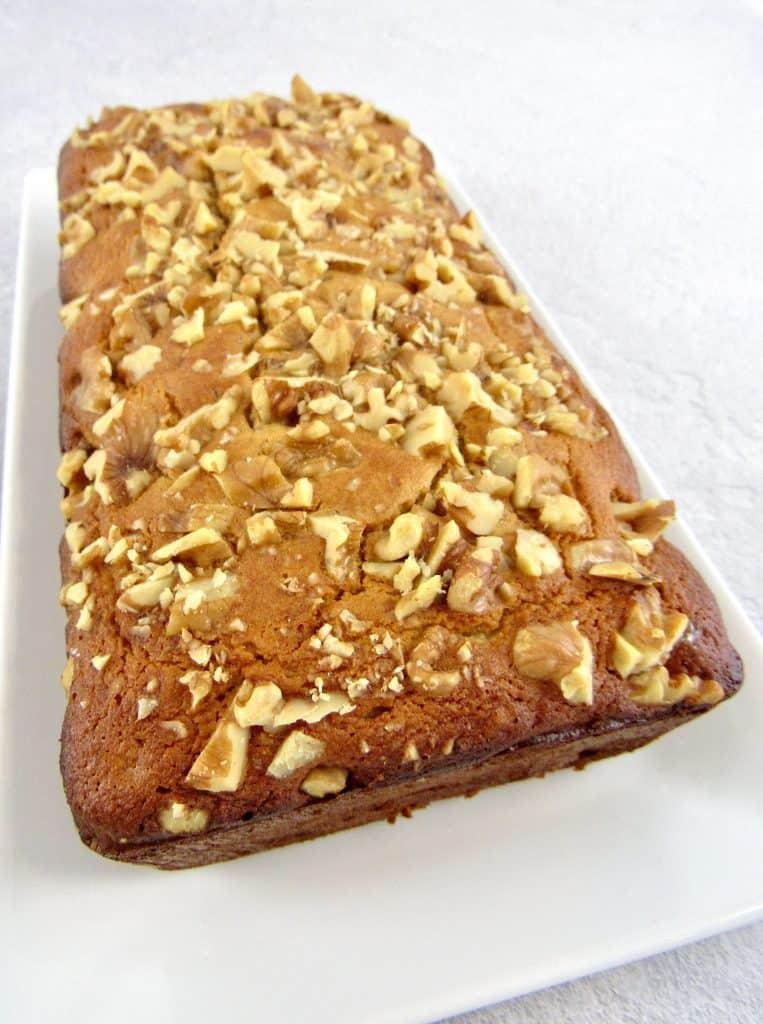 Keto Banana Bread baked on white platter