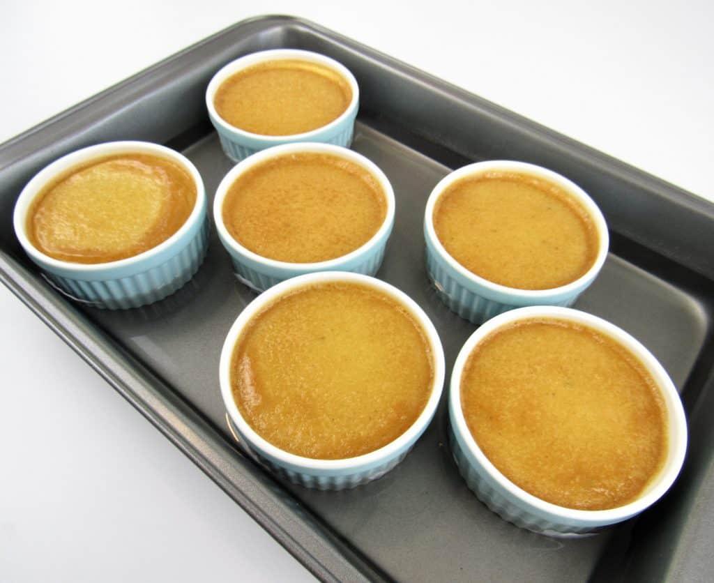 Pumpkin Creme Brûlée in ramekins baked