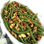 overhead view of green beans with almonds