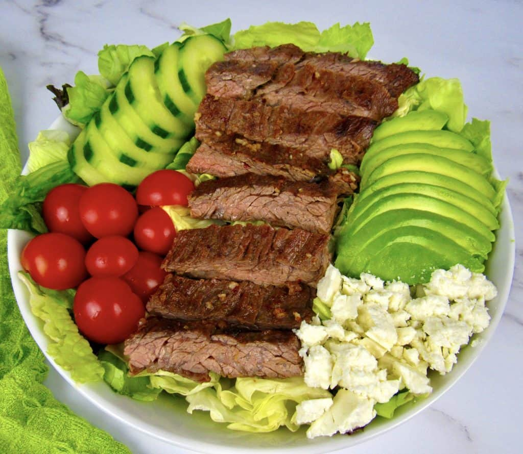 grilled steak salad without dressing