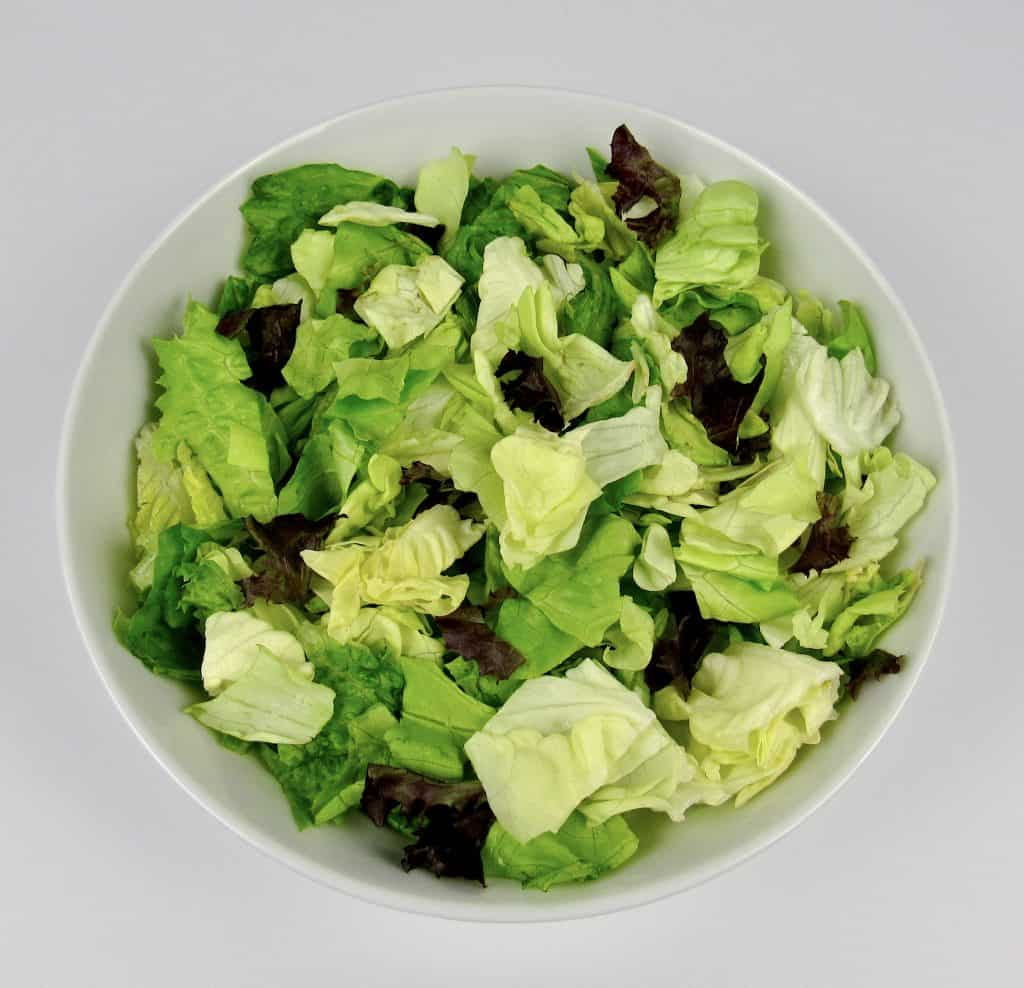 bowl of mixed greens lettuce
