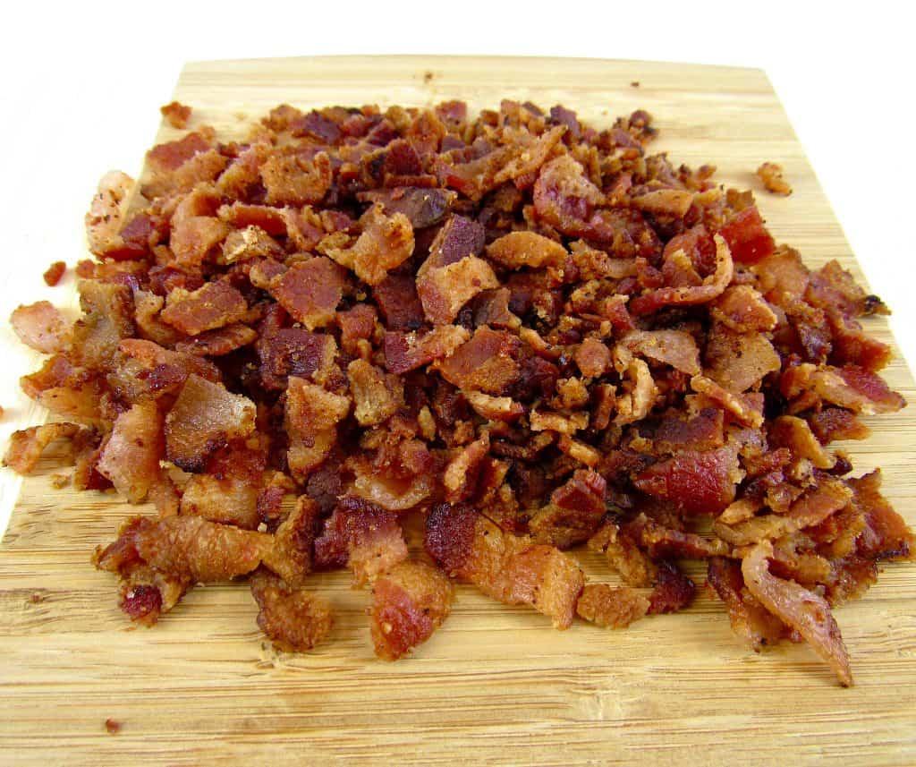 bacon chopped on a cutting board