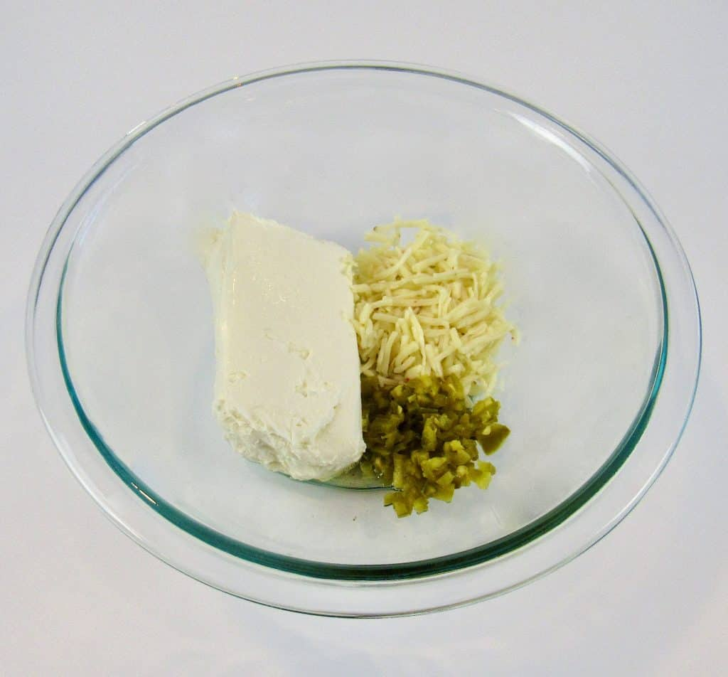 Jalapeño Popper Keto Fat Bombs ingredients in glass bowl