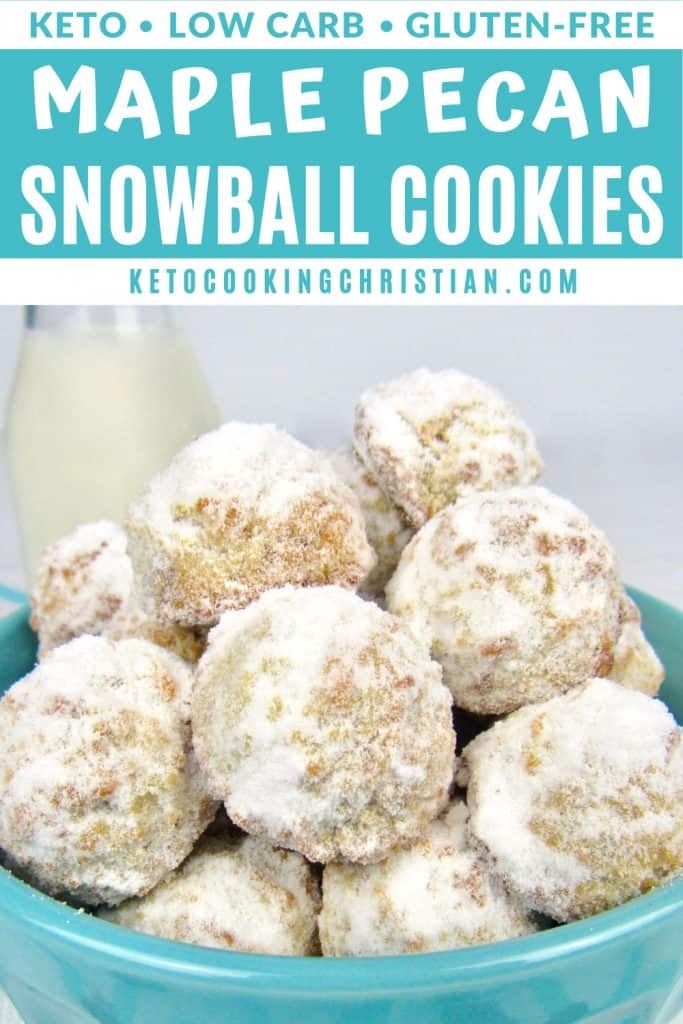 Keto Maple Pecan Snowball Cookies PIN