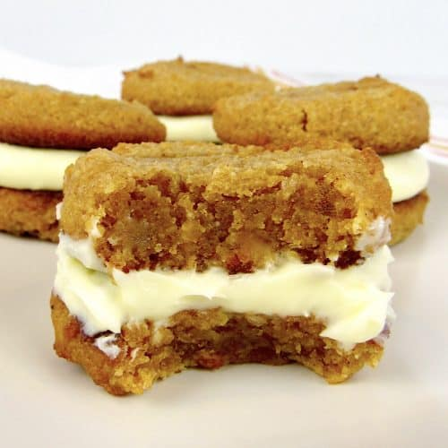 pumpkin whoopie pies with bite taken out