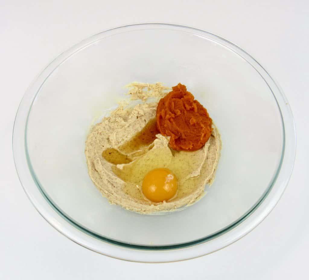 pumpkin whoopie pies wet ingredients in glass bowl