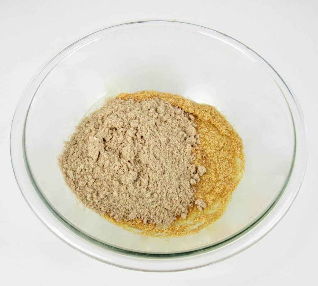 pumpkin whoopie pies wet and dry ingredients in bowl