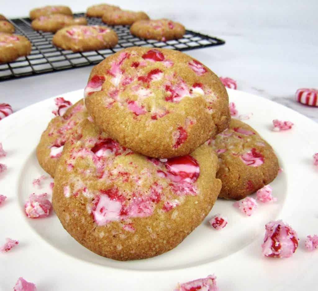 white chocolate peppermint cookies stacked up on plate