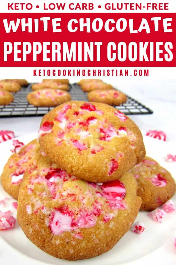 Keto White Chocolate Peppermint Cookies PIN