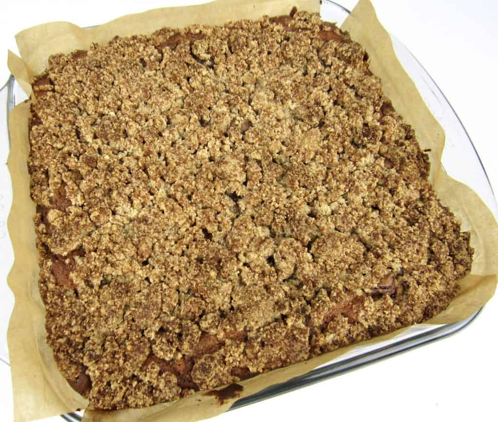 coffee cake baked in glass baking dish