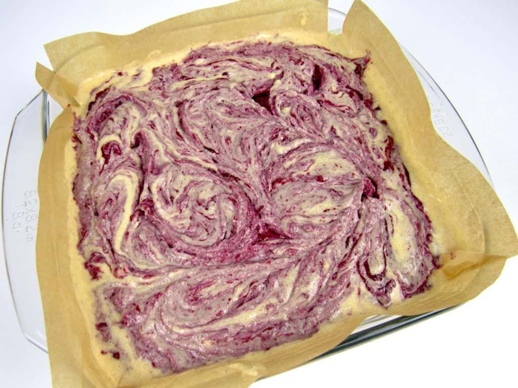blackberry swirl coffee cake unbaked in pan