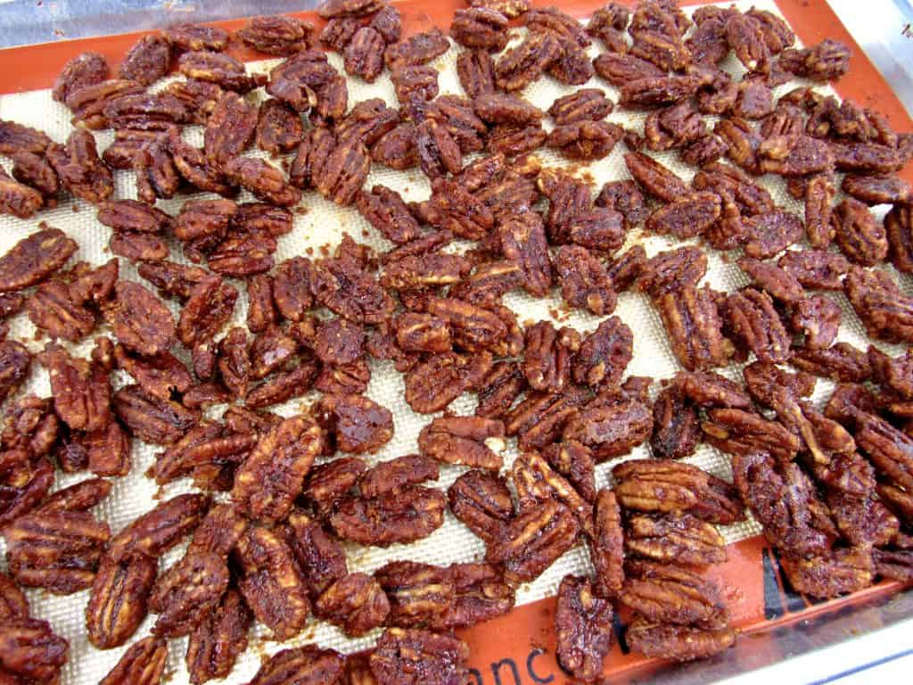 candied pecans baked in sheet pan