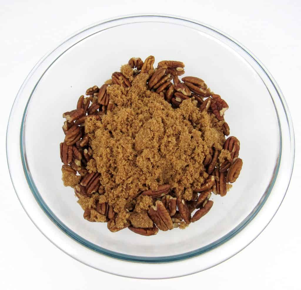 pecans in bowl with brown sugar