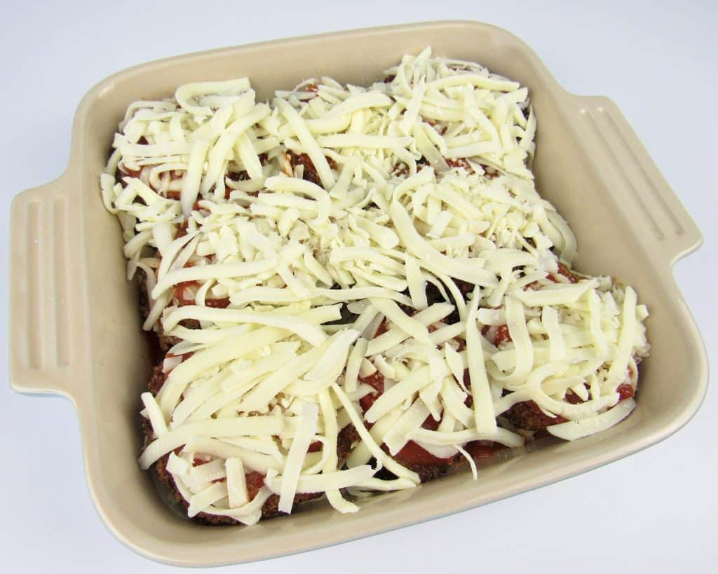 unbaked Eggplant Parmesan casserole