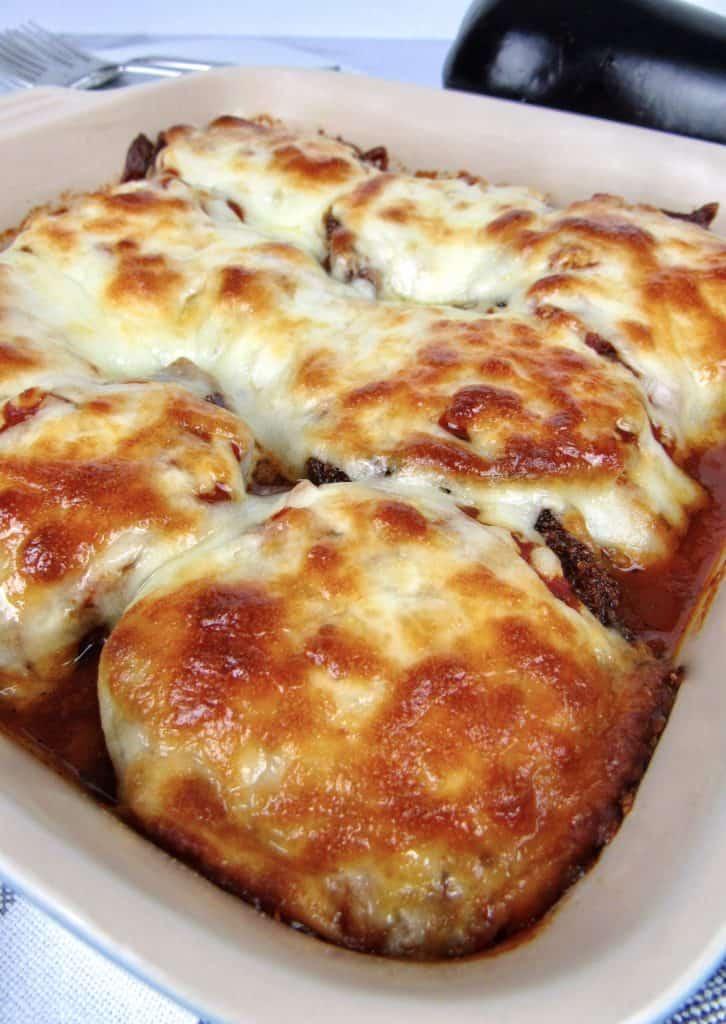 closeup of Eggplant Parmesan casserole