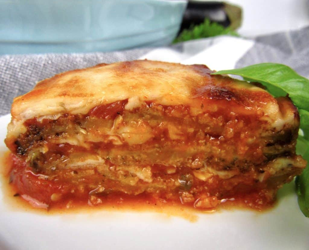 slice of Eggplant Parmesan cut in half