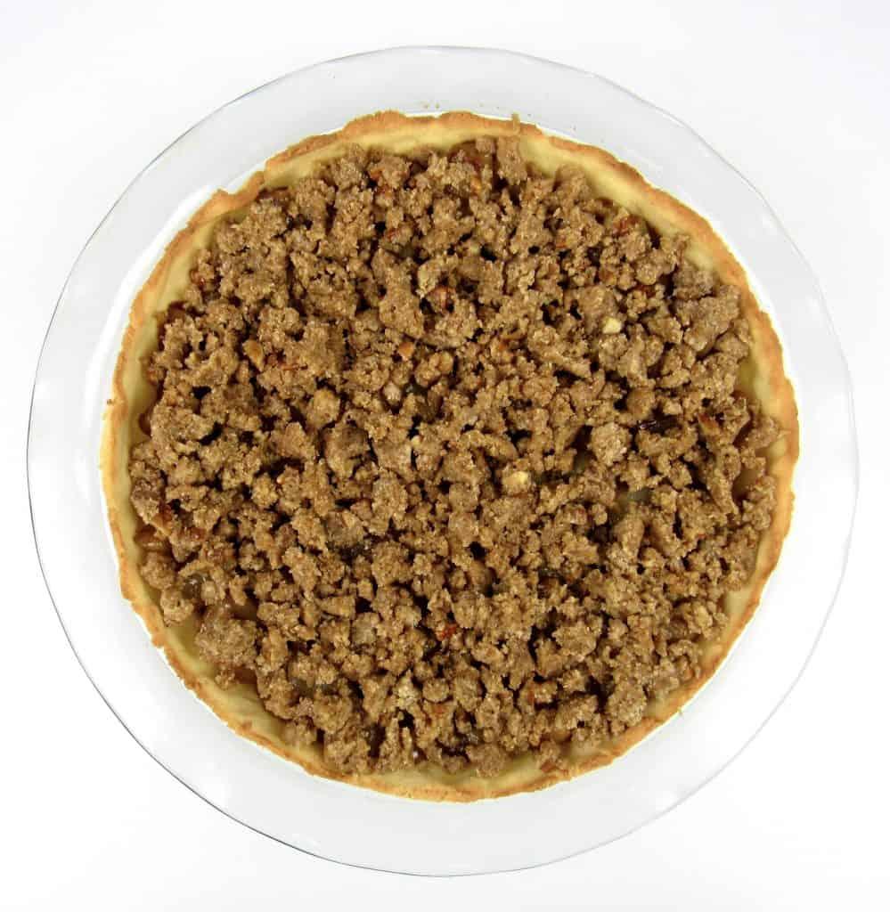 dutch apple pie unbaked in pie dish