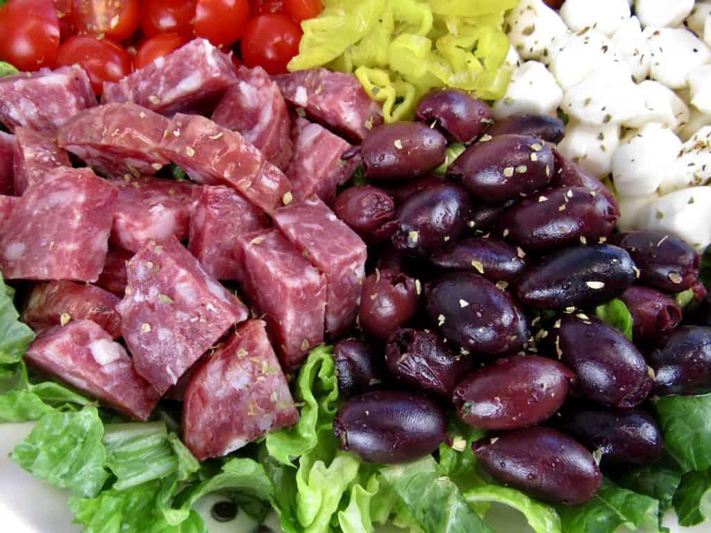 closeup of antipasto salad