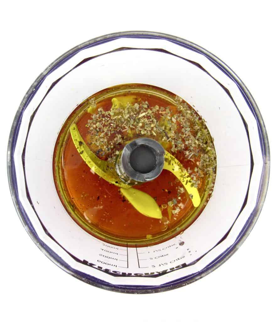 salad dressing ingredients in mini chopper bowl