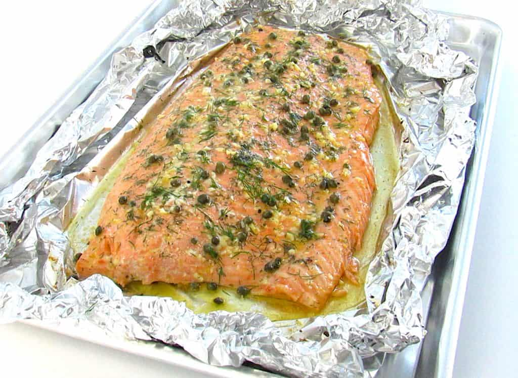 Baked Salmon in Foil with herbs on top